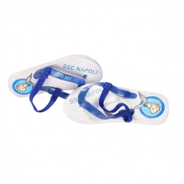 SSC Napoli White Mascotte Flip-Flops for Kids