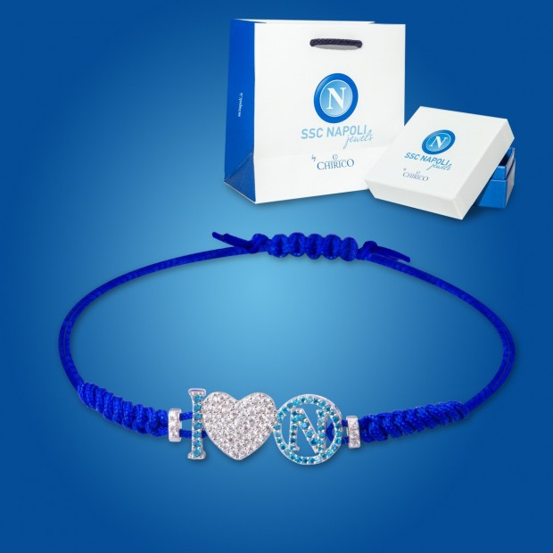 Blue Logo and Heart Napoli Bracelet