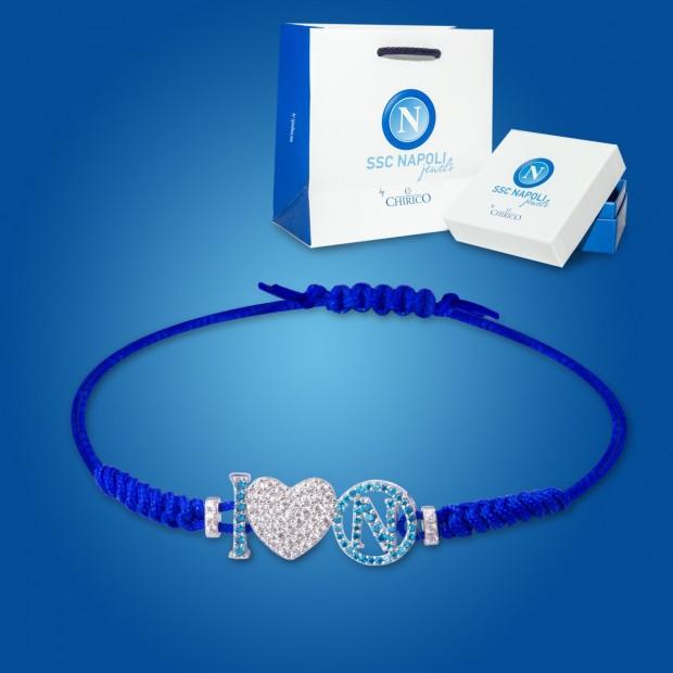 Bracciale Blu Logo e Cuore Napoli