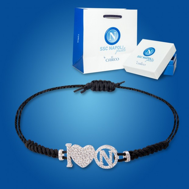 Black Logo and Heart Napoli Bracelet