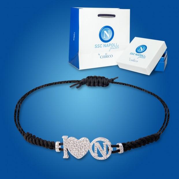 Black Logo and Heart Napoli Bracelet