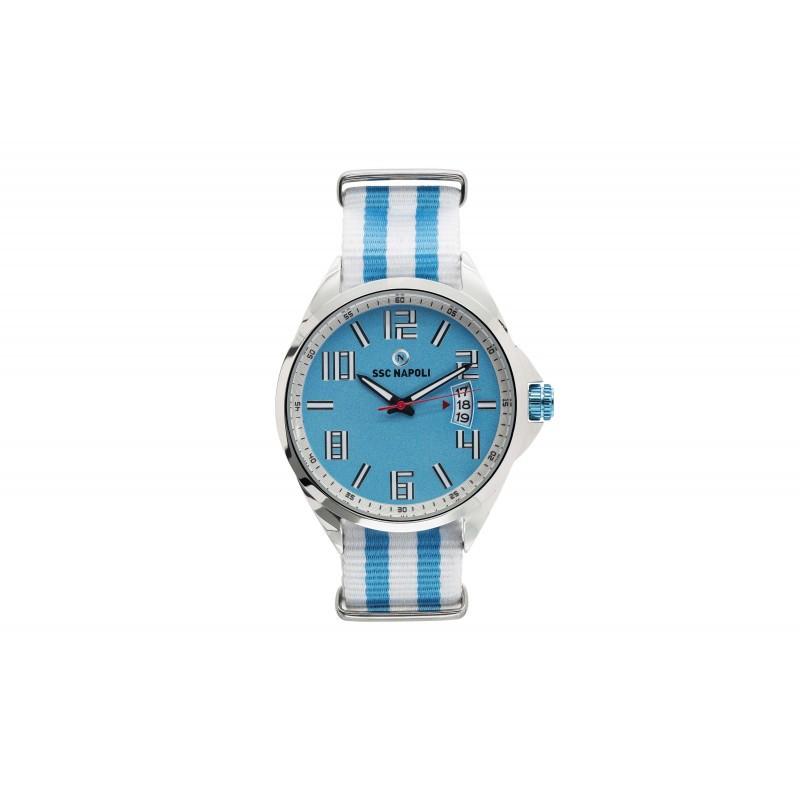 Ssc napoli orologio grande quadrante azzurro