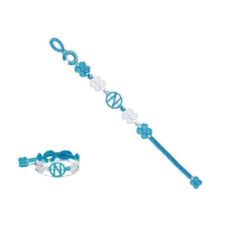 Sscn braccialetto cruciani azzurro/bianco uomo