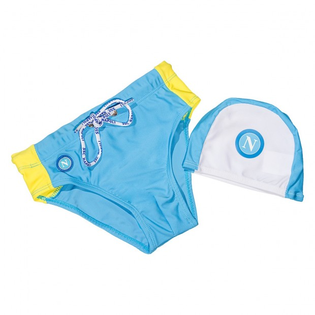 SSC Napoli Sky Blue/Yellow Slip Swimming Trunks for Kids