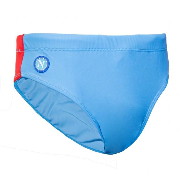 SSC Napoli Sky Blue/Red Slip Swimming Trunks