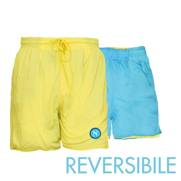 SSC Napoli Yellow/Sky Blue Reversible Swimming Trunks