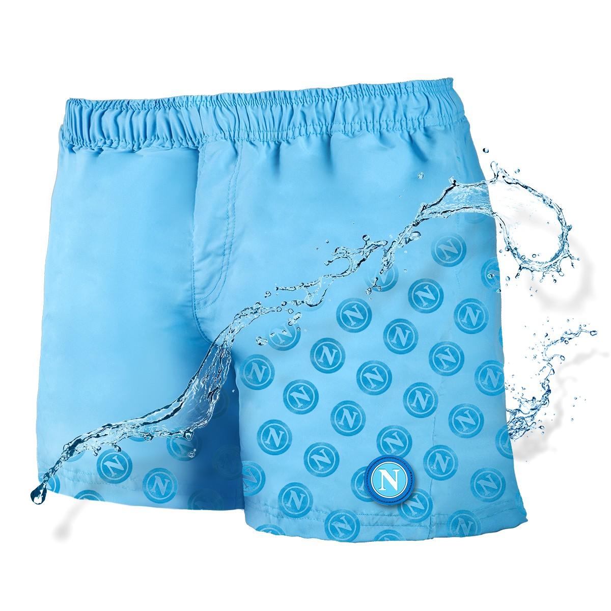 Sscn sky blue magic print logo swimming trunks