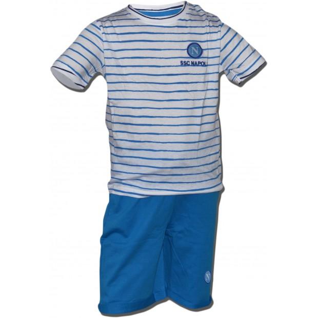 SSC Napoli Completo T-Shirt e Shorts Stripes Azzurro Infant