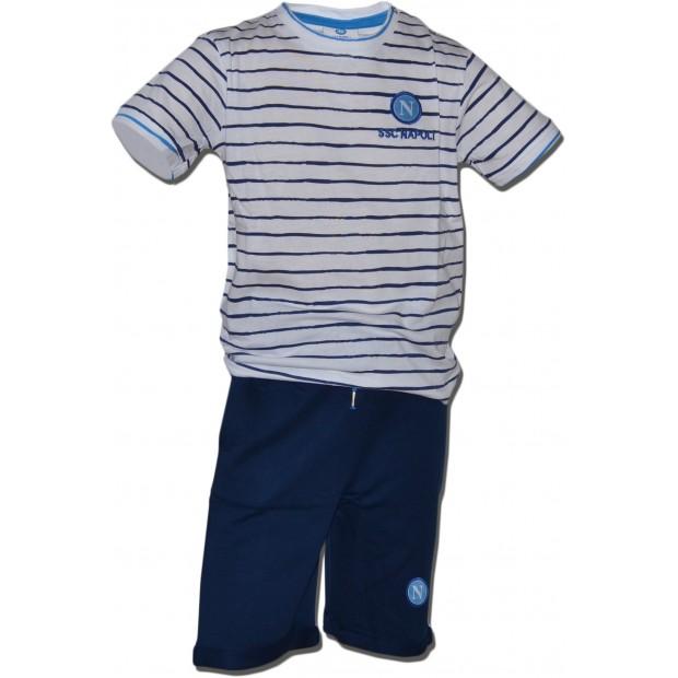 SSC Napoli Completo T-Shirt e Shorts Stripes Royal Blu Infant