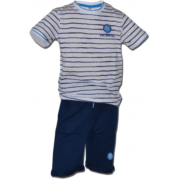 SSC Napoli Stripes Set of T-Shirt and Shorts Blue Royal for Infants