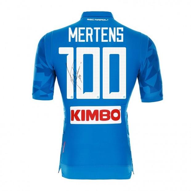 SSC Napoli Autographed Mertens 100 Match Shirt
