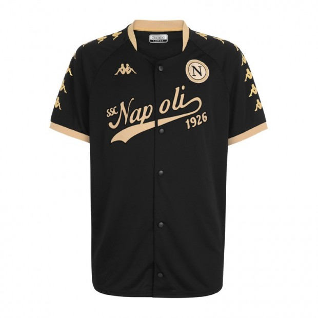 SSC Napoli Black/Gold Baseball Style Shirt