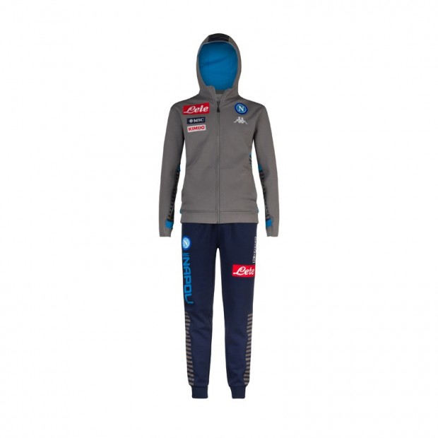 SSC Napoli Grey Cotton Representation Tracksuit with Hood 2019/2020 Youth