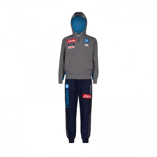 SSC Napoli Micro Grey Representation Tracksuit with Hood 2019/2020 Kid