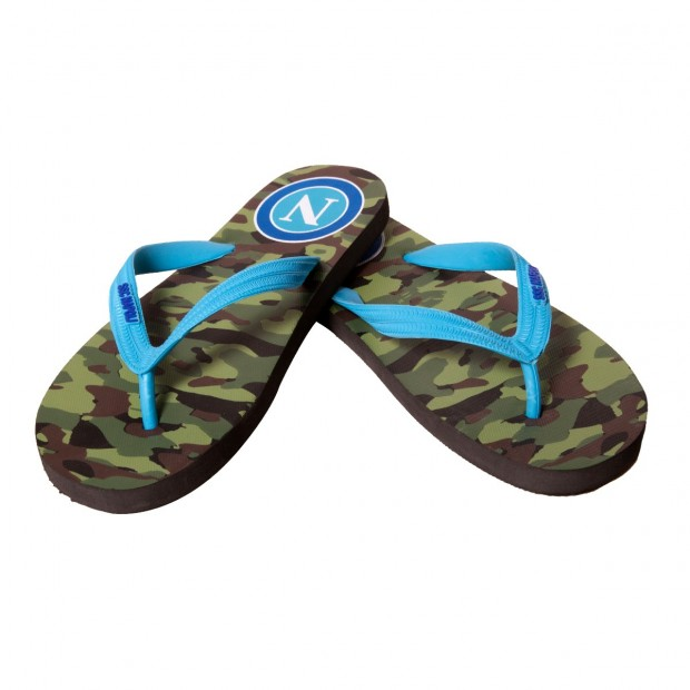 SSC Napoli Green Camouflage Flip-Flops for Kids