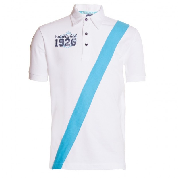 SSCN White Oblique Stripe Polo Shirt
