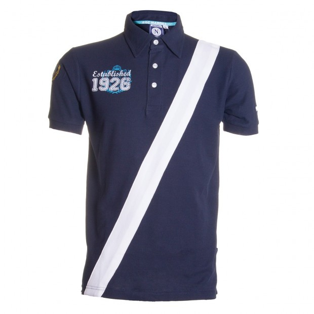 SSCN Navy Blue Oblique Stripe Polo Shirt