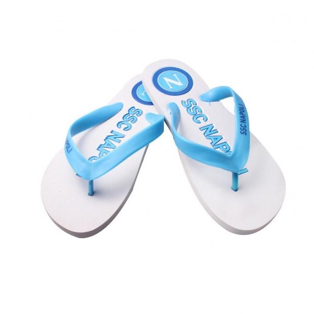 SSC Napoli White/Sky Blue Flip-Flops