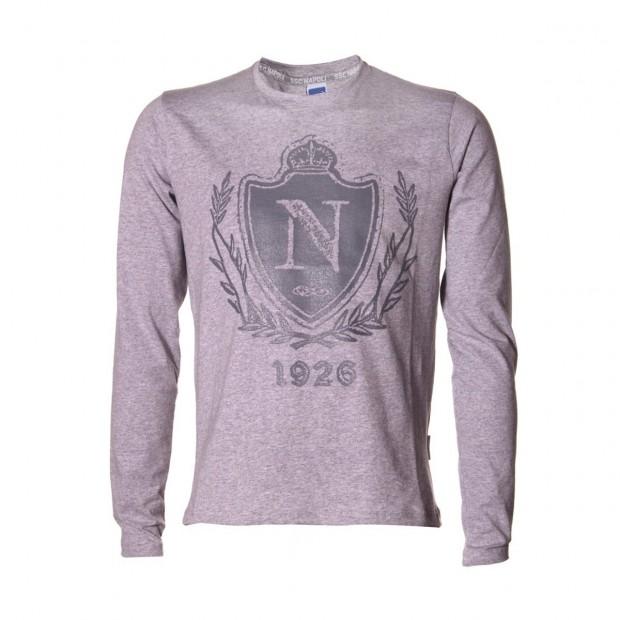 SSC Napoli L/S Grey T-Shirt Crest
